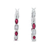 Art Deco Hoop Earrings Marquise Round Simulated Ruby CZ 925 Sterling Silver