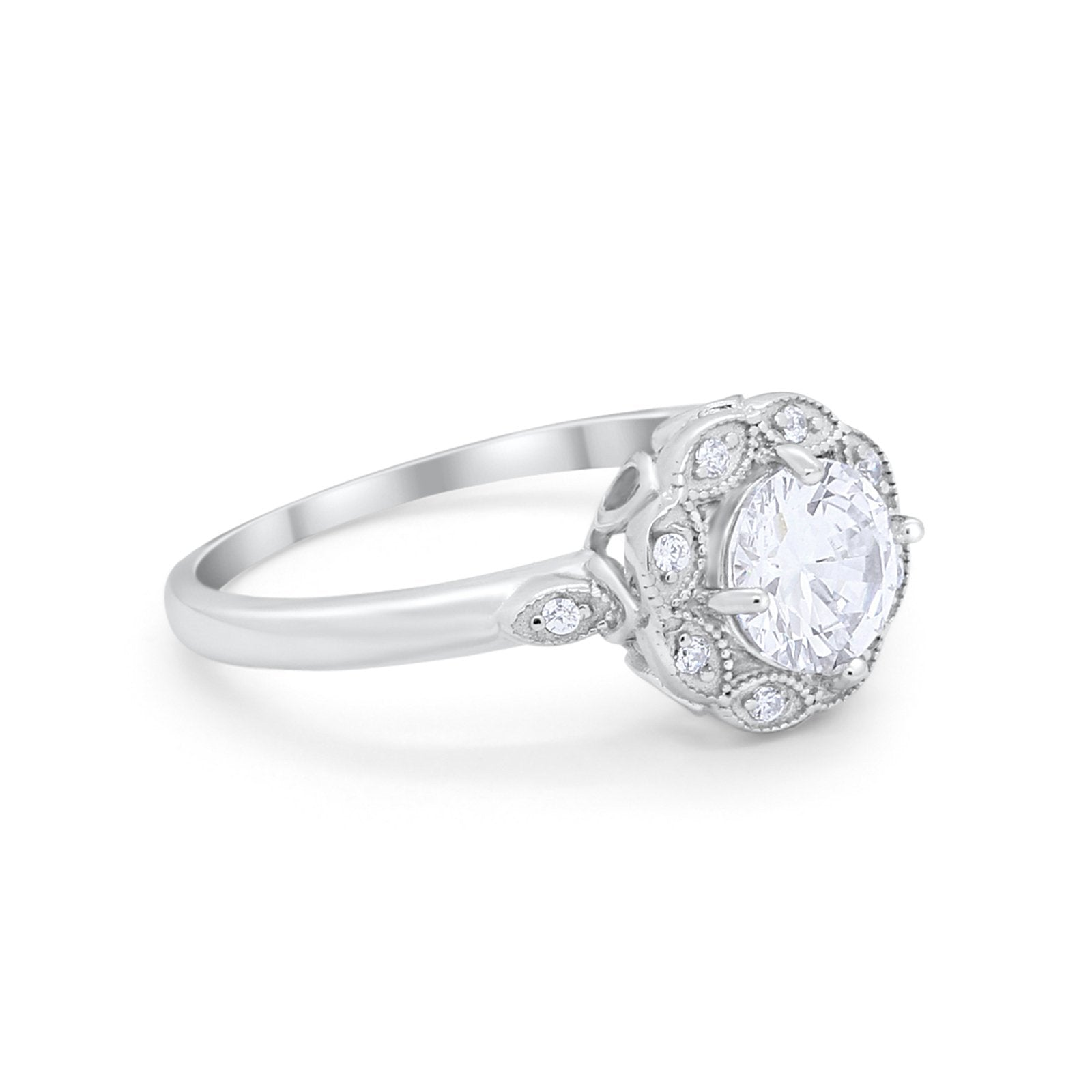Vintage Style Engagement Ring Round Simulated CZ 925 Sterling Silver