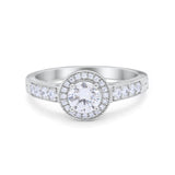 Vintage Style Halo Engagement Ring Simulated CZ 925 Sterling Silver