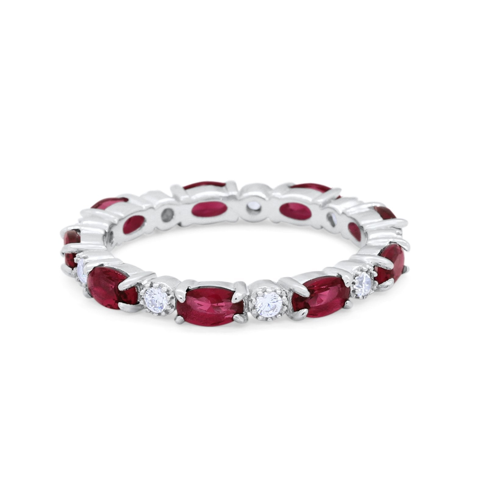 Full Eternity Band Oval Round Simulated Ruby CZ 925 Sterling Silver