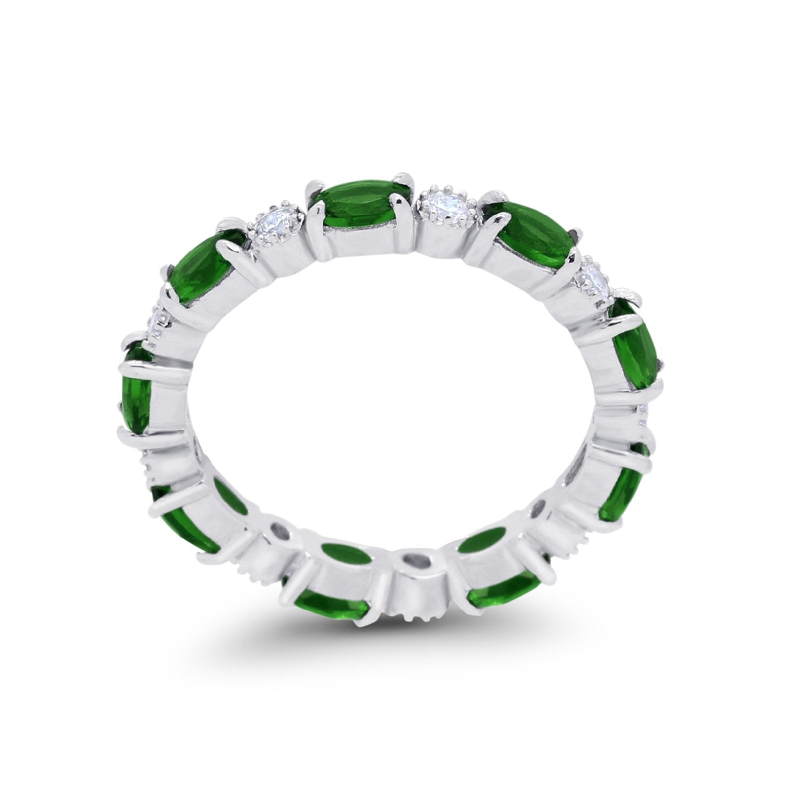 Full Eternity Band Oval Round Simulated Green Emerald CZ 925 Sterling Silver