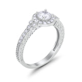 Vintage Style Halo Bridal Wedding Ring Round Simulated CZ 925 Sterling Silver