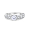 Art Deco Wedding Engagement Bridal Ring Round Simulated CZ 925 Sterling Silver