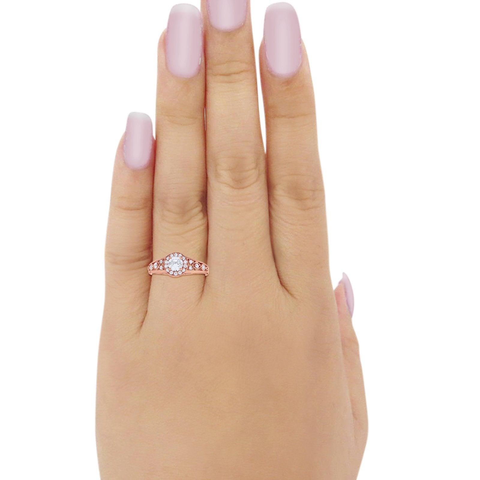 Vintage Style Engagement Ring Halo Rose Tone, Simulated Cubic Zirconia 925 Sterling Silver