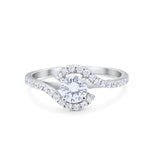 Wedding Engagement Bridal Ring Round Simulated CZ 925 Sterling Silver