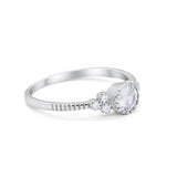 Dainty Art Deco Engagement Bridal Ring Simulated CZ 925 Sterling Silver