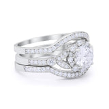 3 Piece Wedding Ring Band Bridal Set Round Simulated CZ 925 Sterling Silver