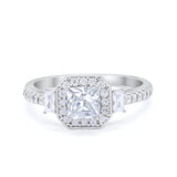 Halo Princess Cut Wedding Ring Simulated CZ 925 Sterling Silver