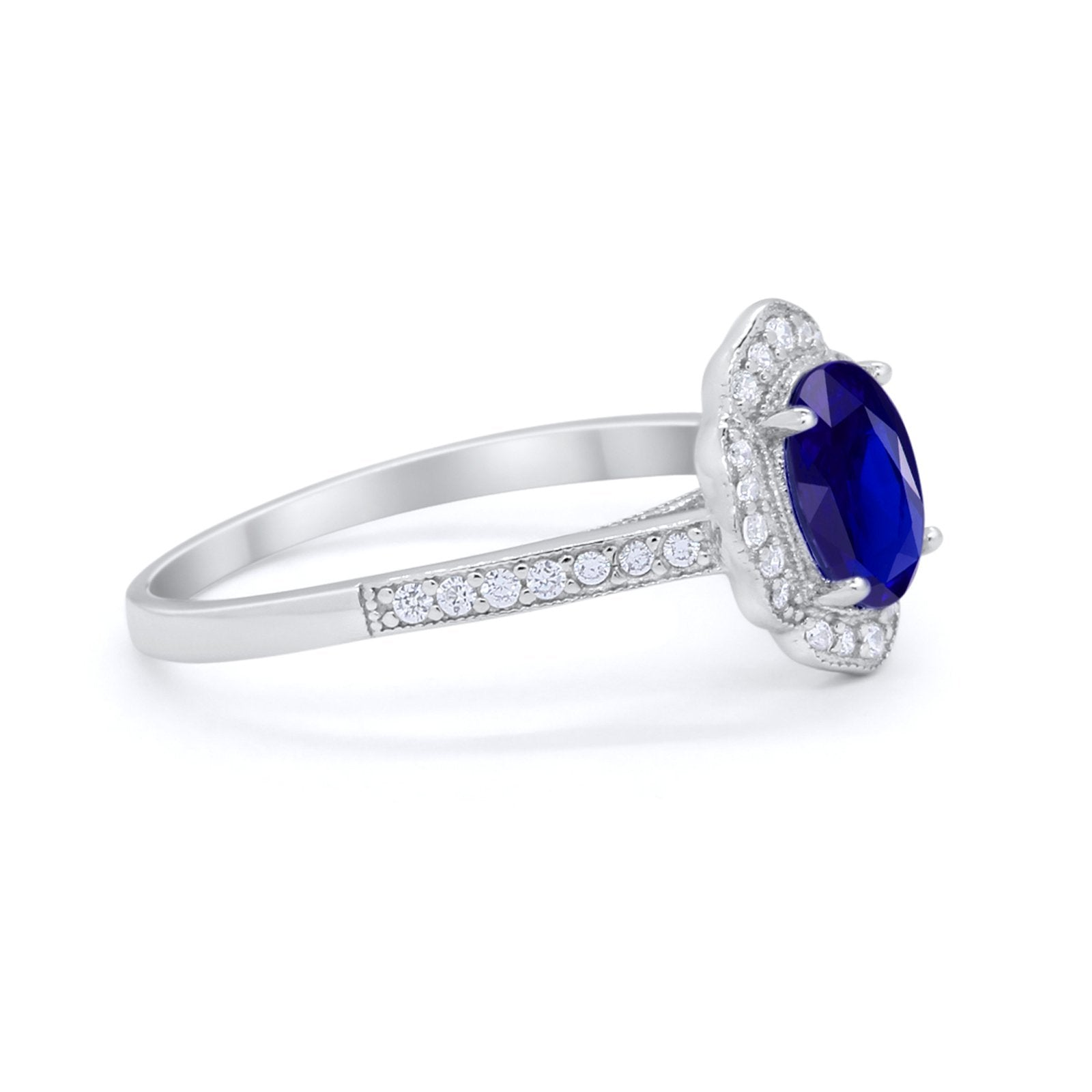 Art Deco Oval Wedding Ring Simulated Blue Sapphire CZ 925 Sterling Silver