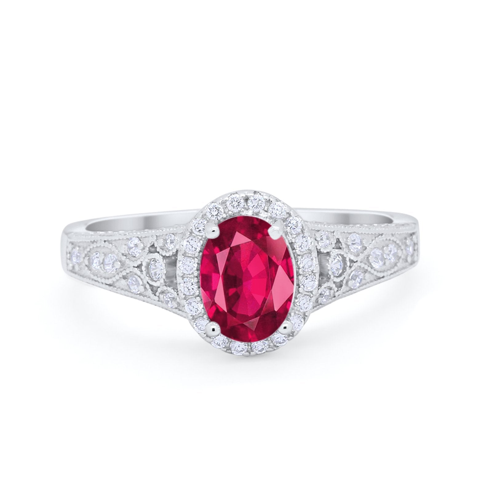 Vintage Style Oval Wedding Ring Simulated Ruby CZ 925 Sterling Silver