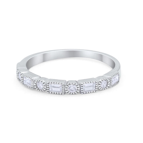 Art Deco Half Eternity Wedding Band Baguette Round CZ 925 Sterling Silver