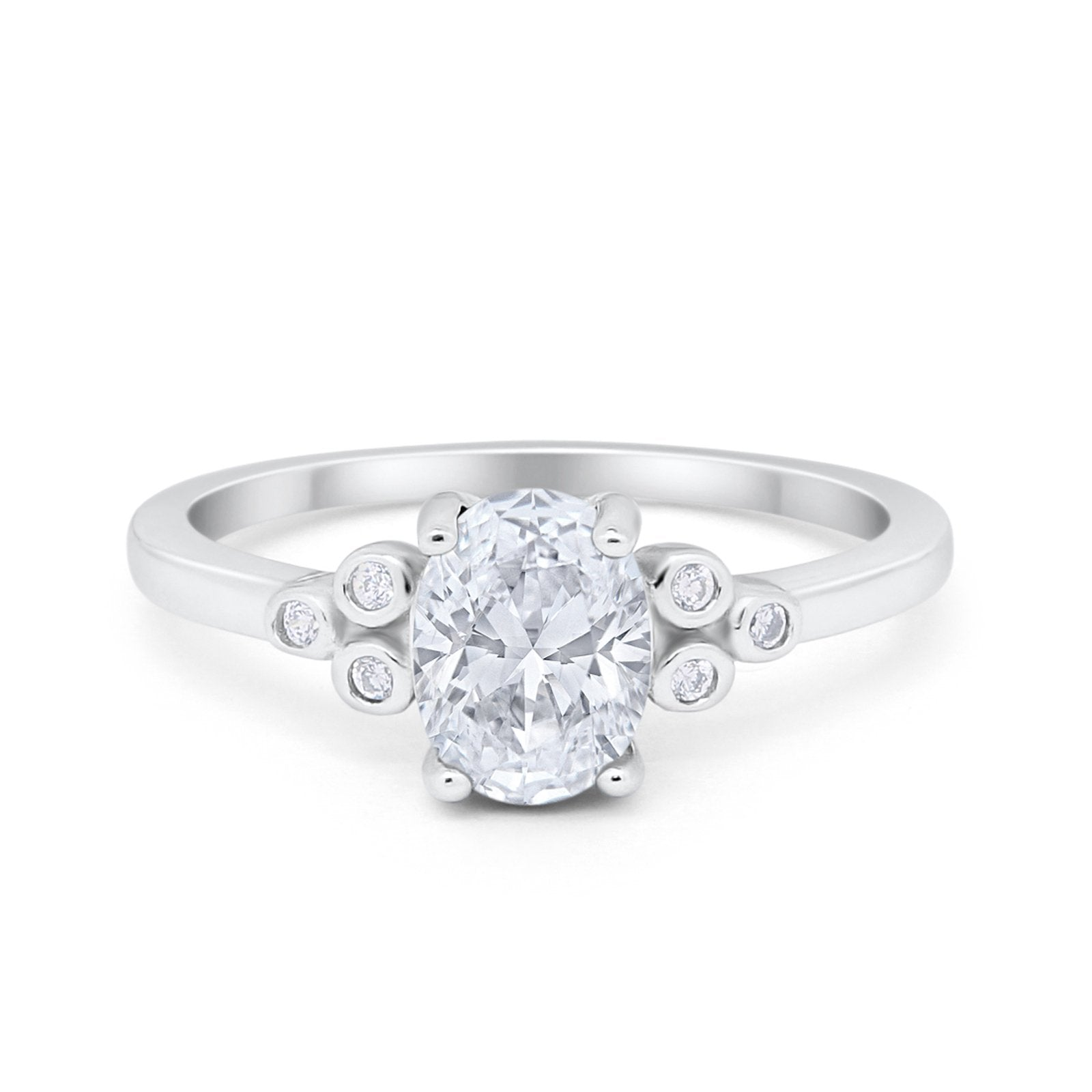 Oval Art Deco Engagement Ring Round Simulated Cubic Zirconia 925 Sterling Silver