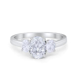 Oval Three Stone Wedding Engagement Ring Simulated CZ 925 Sterling Silver