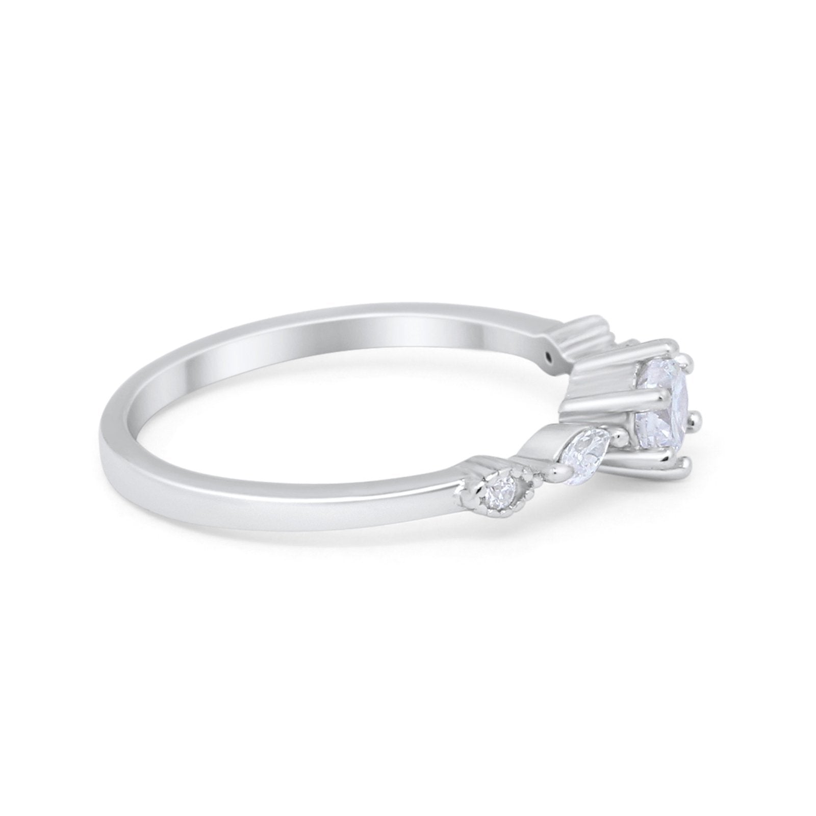 Petite Dainty Engagement Ring Marquise Simulated CZ 925 Sterling Silver