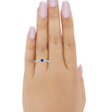 Petite Dainty Ring Round Simulated Blue Sapphire CZ 925 Sterling Silver
