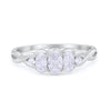 Three Stone Infinity Shank Oval Wedding Engagement Ring Simulated Cubic Zirconia 925 Sterling Silver