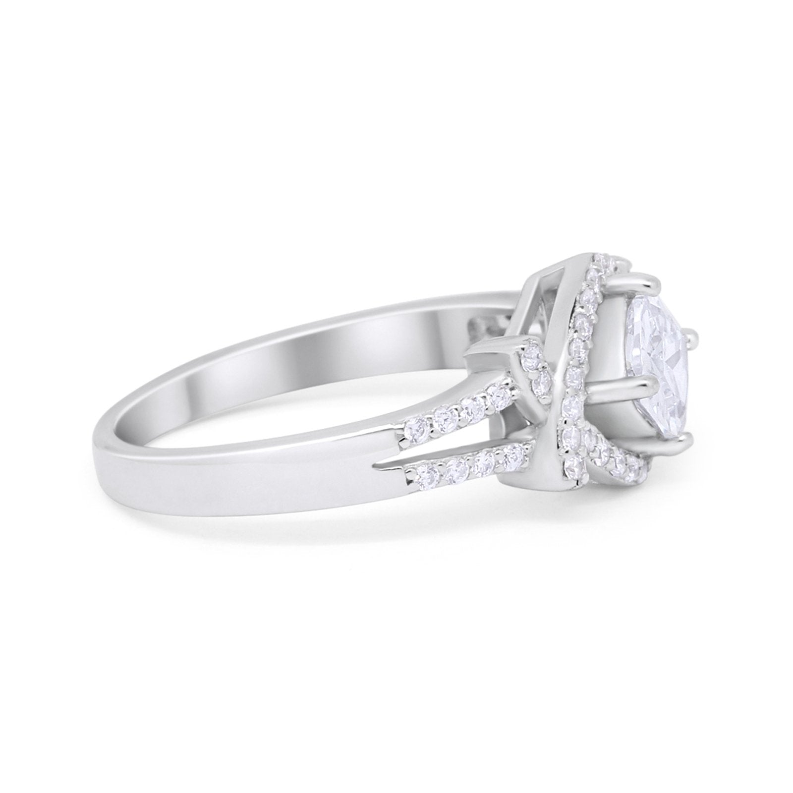 New Design Cushion Cut Wedding Ring Simulated CZ 925 Sterling Silver