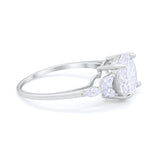 Large Stone Cocktail Art Deco Engagement Ring Round Simulated Cubic Zirconia 925 Sterling Silver