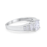 Art Deco Wedding Ring Three Stone Simulated CZ 925 Sterling Silver