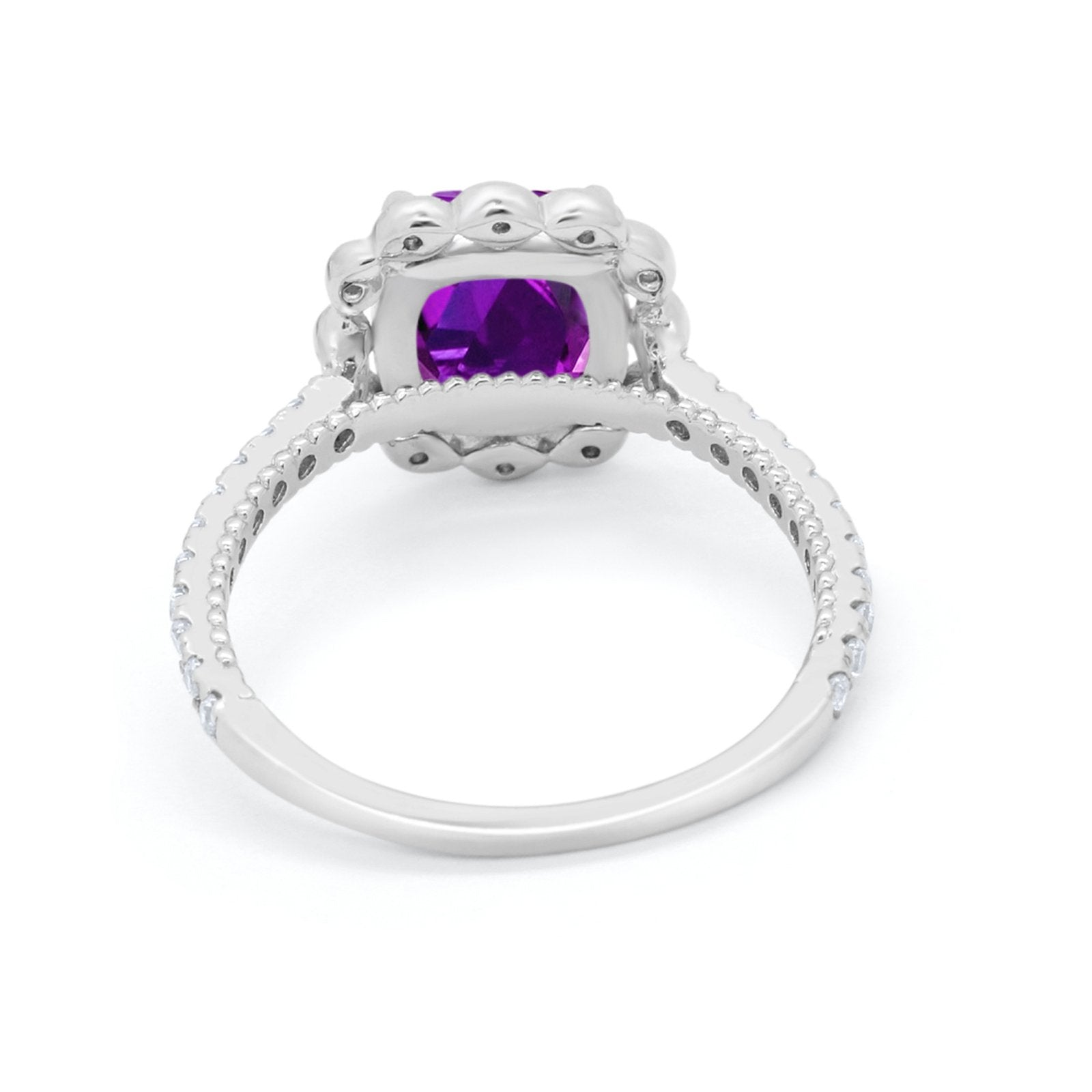 Halo Cushion Engagement Ring Simulated Amethyst CZ 925 Sterling Silver