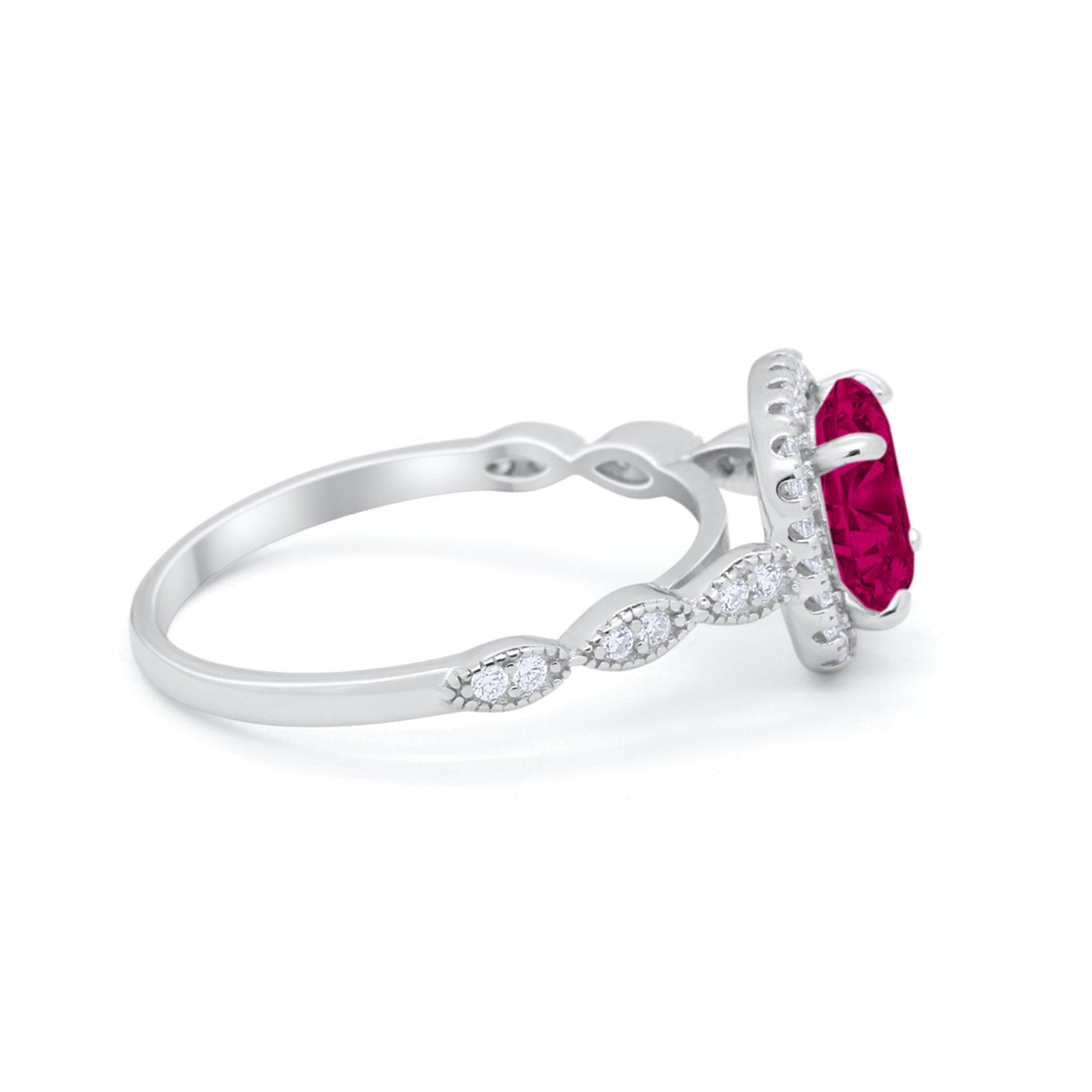 Halo Wedding Ring Round Simulated Ruby CZ 925 Sterling Silver