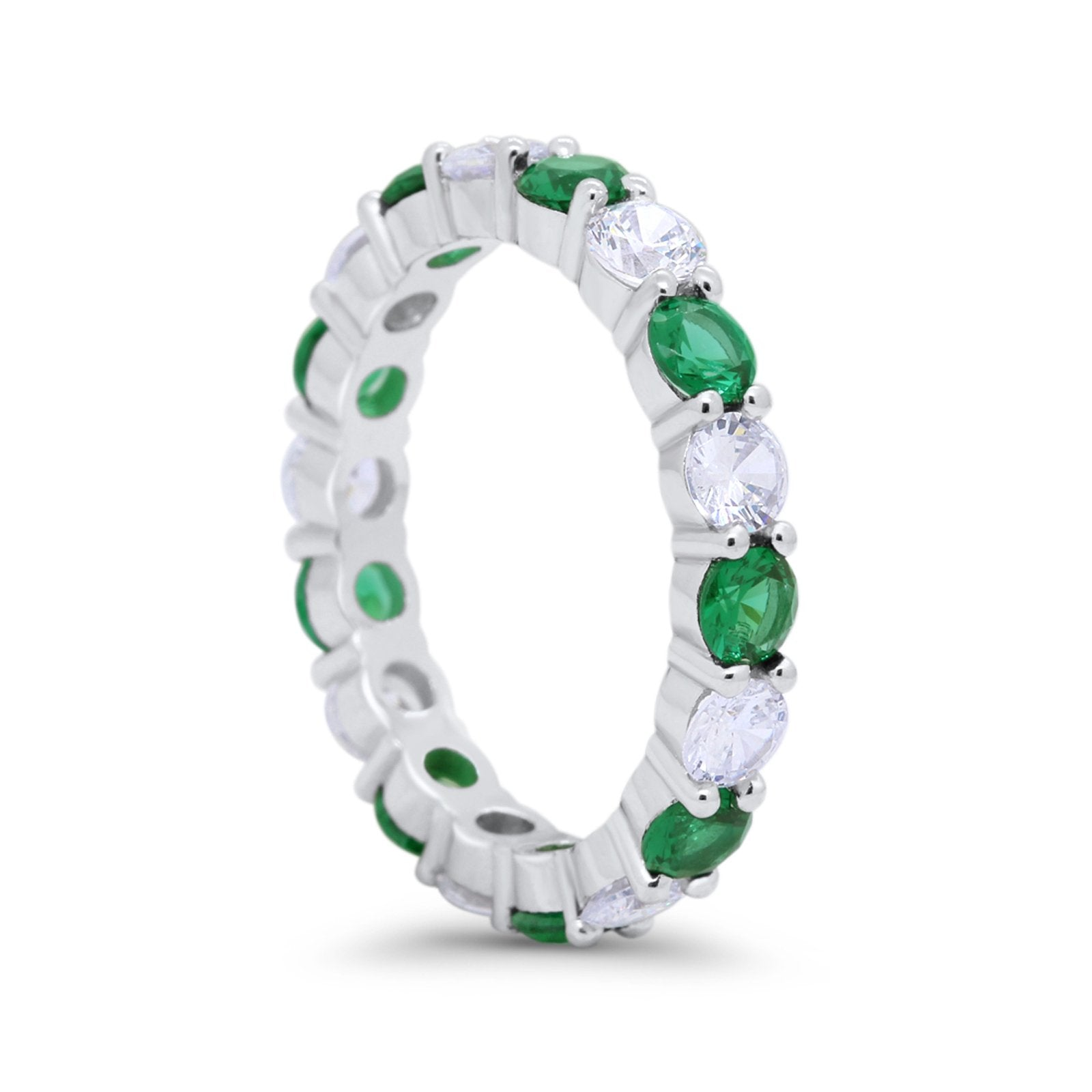 Alternating Wedding Band Ring Round Eternity Simulated Green Emerald CZ 925 Sterling Silver