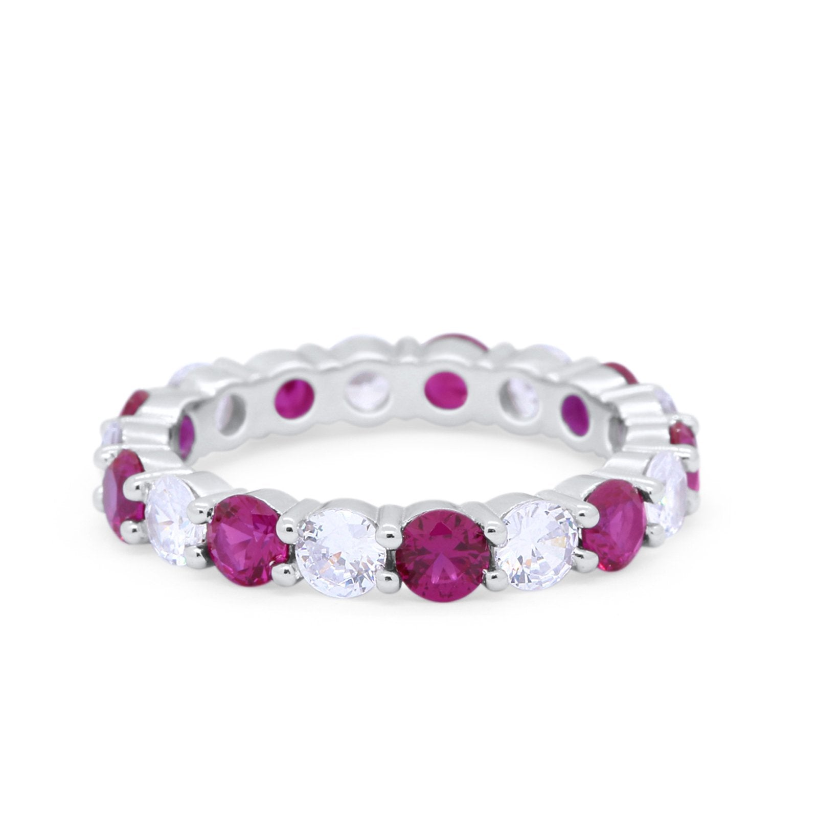 Alternating Wedding Band Ring Round Eternity Simulated Ruby CZ 925 Sterling Silver