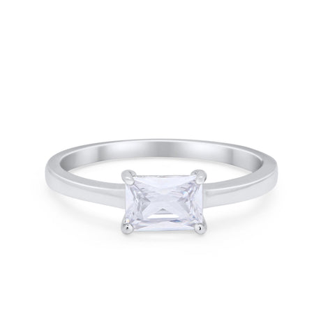 Radiant Cut Solitaire Wedding Engagement Ring Round Simulated Cubic Zirconia 925 Sterling Silver