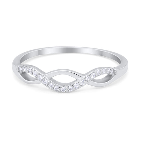 Twisted Infinity Band Ring Round Simulated Cubic Zirconia 925 Sterling Silver