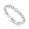 Full Eternity Wedding Band Ring Marquise Round Cubic Zirconia 925 Sterling Silver