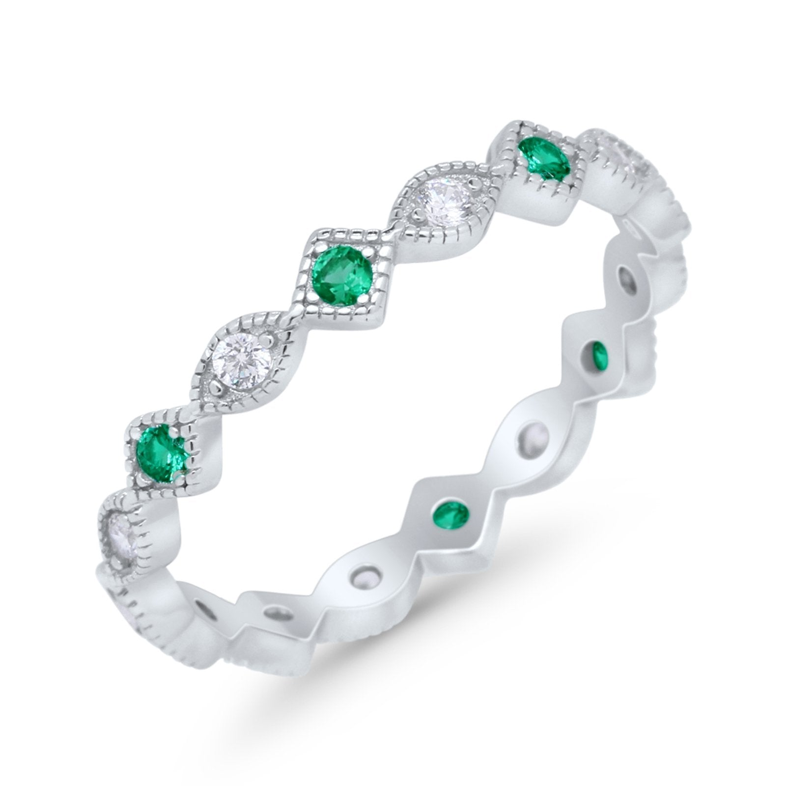Full Eternity Wedding Band Ring Marquise Round Simulate Green Emerald CZ 925 Sterling Silver