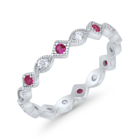 Full Eternity Wedding Band Ring Marquise Round Ruby CZ 925 Sterling Silver