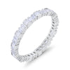 Baguette Princess Full Eternity Wedding Band Ring Round Cubic Zirconia 925 Sterling Silver