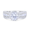 Vintage Style Wedding Bridal Ring Round Simulated Cubic Zirconia 925 Sterling Silver