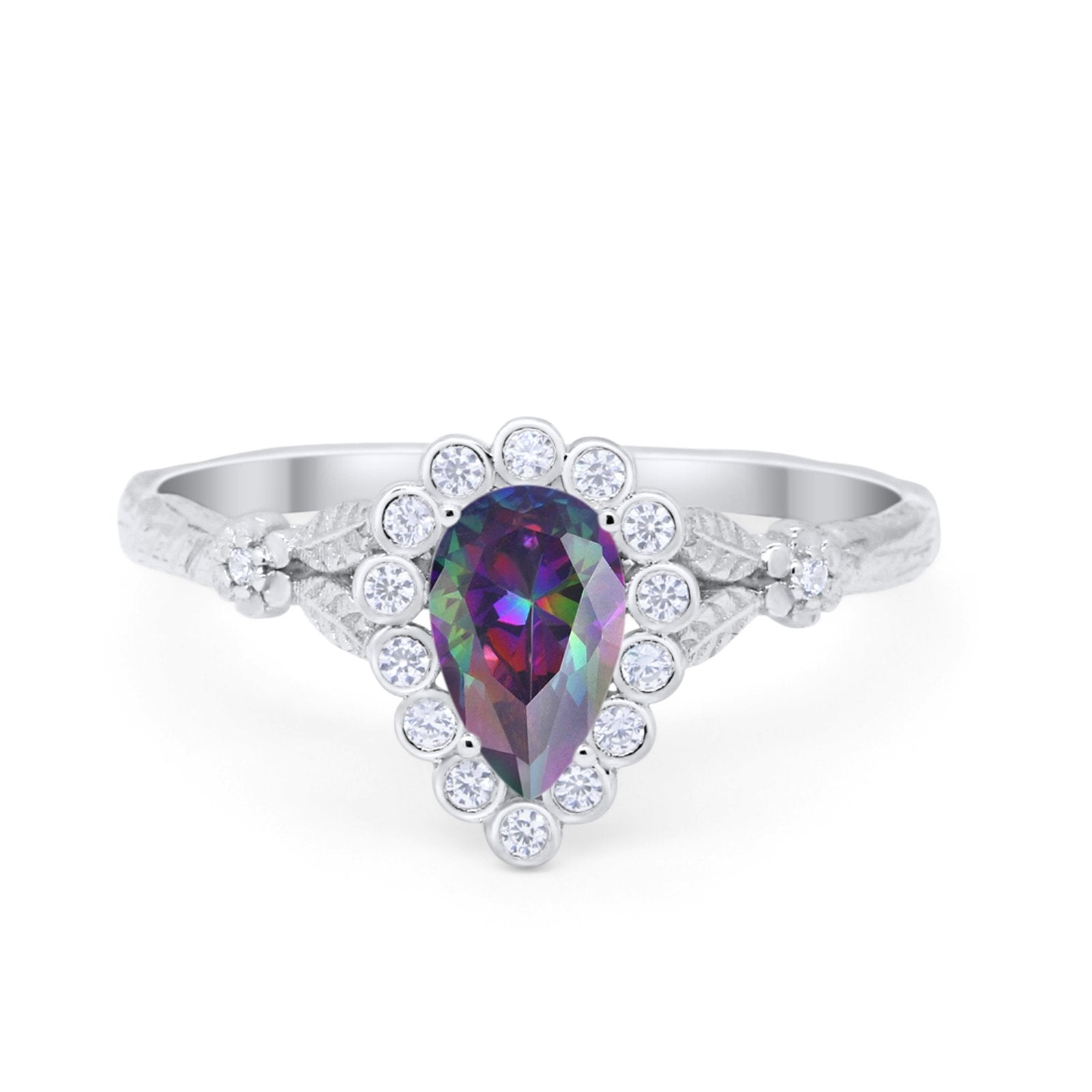 Teardrop Engagement Ring Simulated Rainbow CZ 925 Sterling Silver