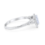 Teardrop Bridal Engagement Ring Round Simulated Cubic Zirconia 925 Sterling Silver