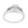Art Deco Flower Style Wedding Engagement Bridal Ring Round Simulated Cubic Zirconia  925 Sterling Silver