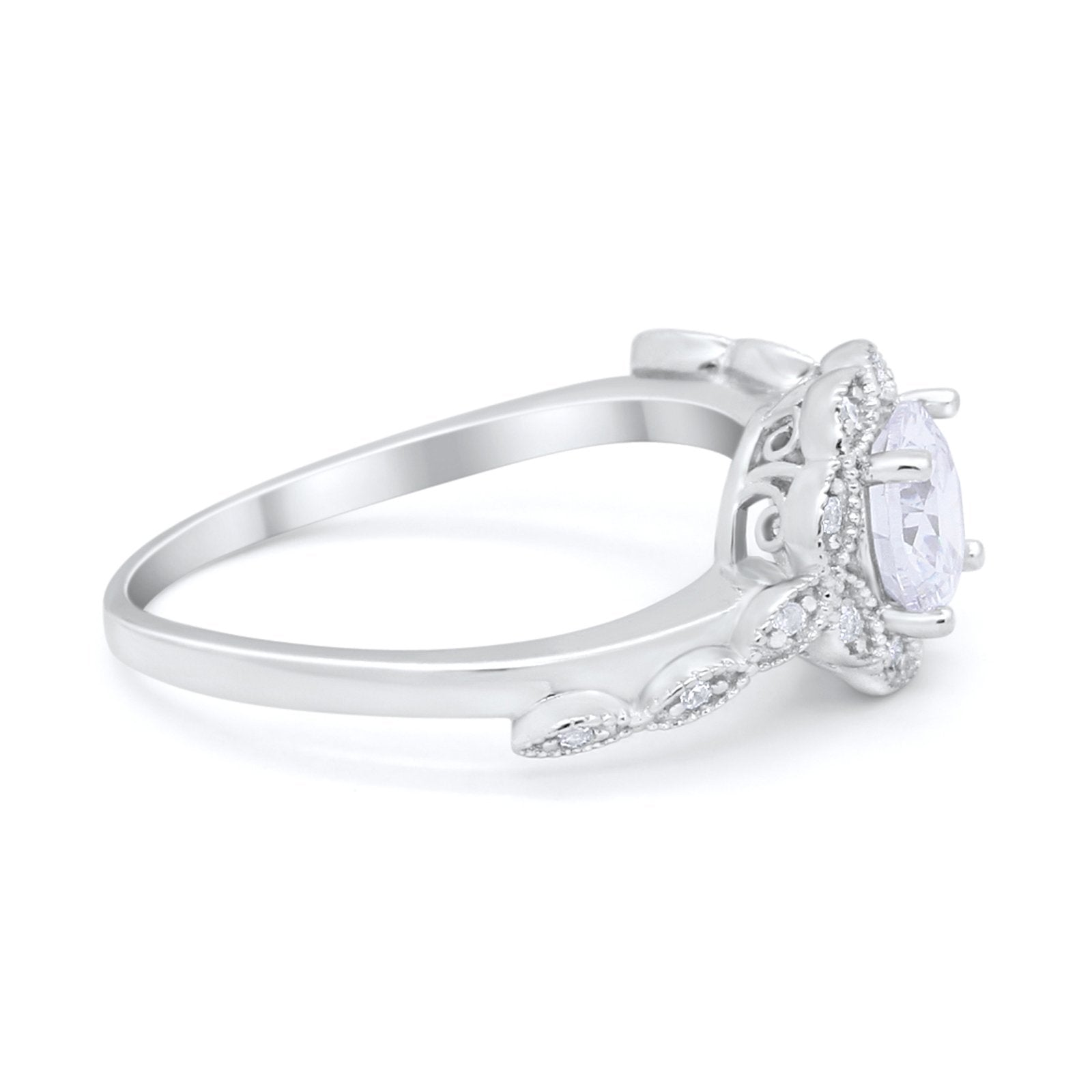 Art Deco Engagement Ring Round Simulated CZ 925 Sterling Silver