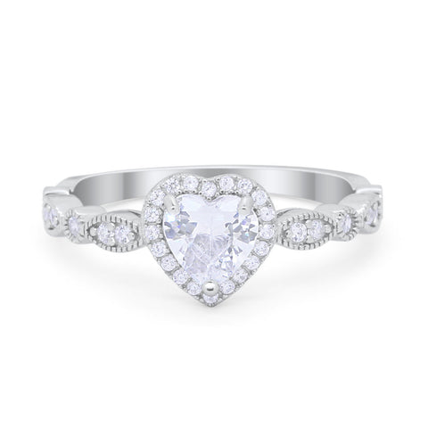 Heart Promise Wedding Engagement Ring Round Simulated Cubic Zirconia 925 Sterling Silver