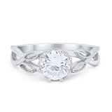 Floral Infnity Shank Engaement Ring Round Simulated CZ 925 Sterling Silver