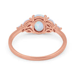 Oval Art Deco Engagement Ring Rose Tone, Lab Created White Opal 925 Sterling Silver
