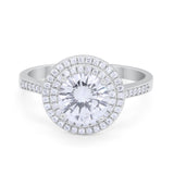 Halo Vintage Style Engagement Ring Round Simulated CZ 925 Sterling Silver