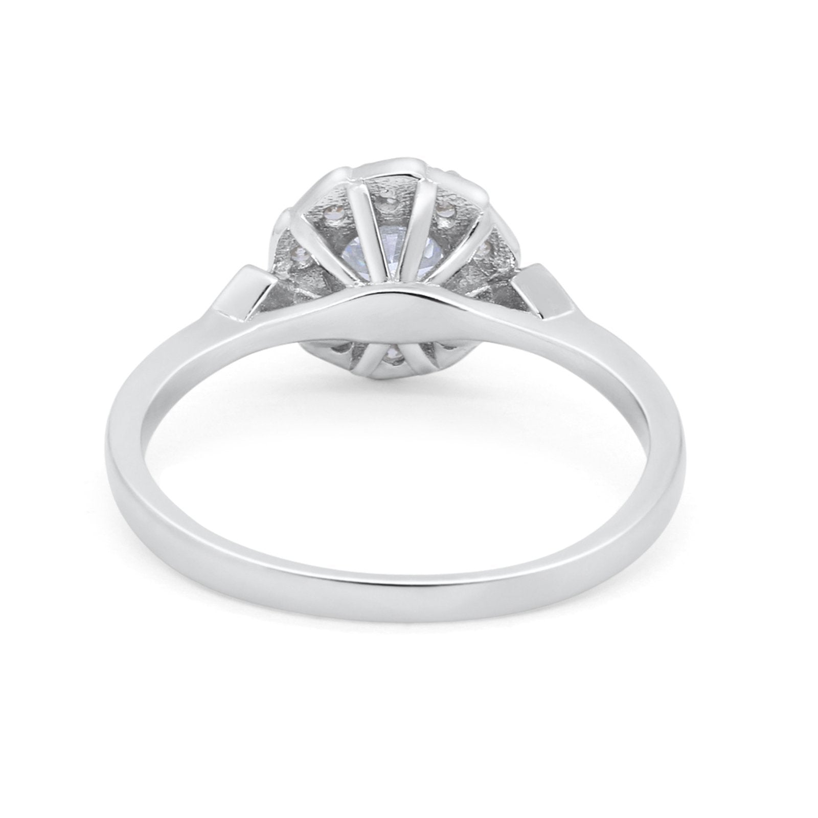 Halo Engagement Vintage Style Bridal Ring Round Simulated CZ 925 Sterling Silver