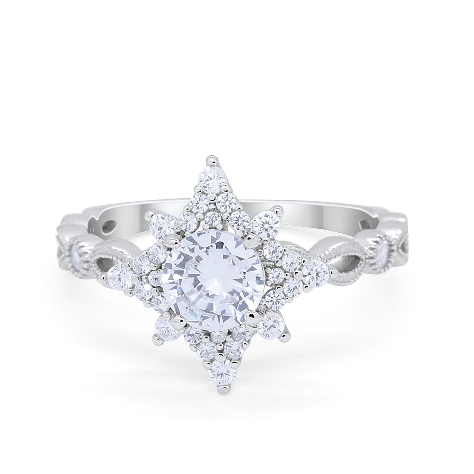 Floral Vintage Style Engagement Ring Round Simulated Cubic Zirconia 925 Sterling Silver