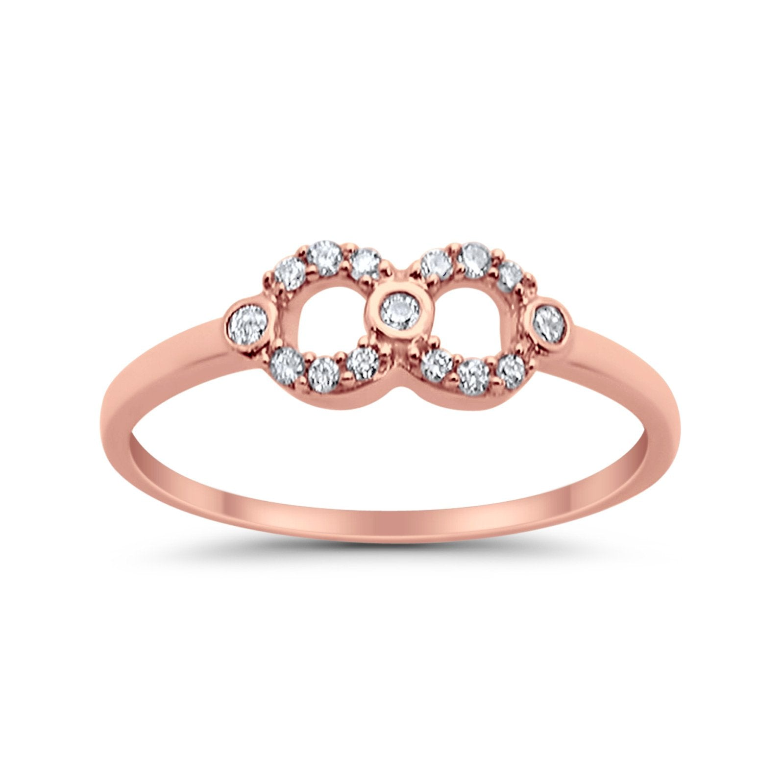 14K .11ct Rose Gold Diamond Eternity Bands Infinity Love Ring Size 6.5