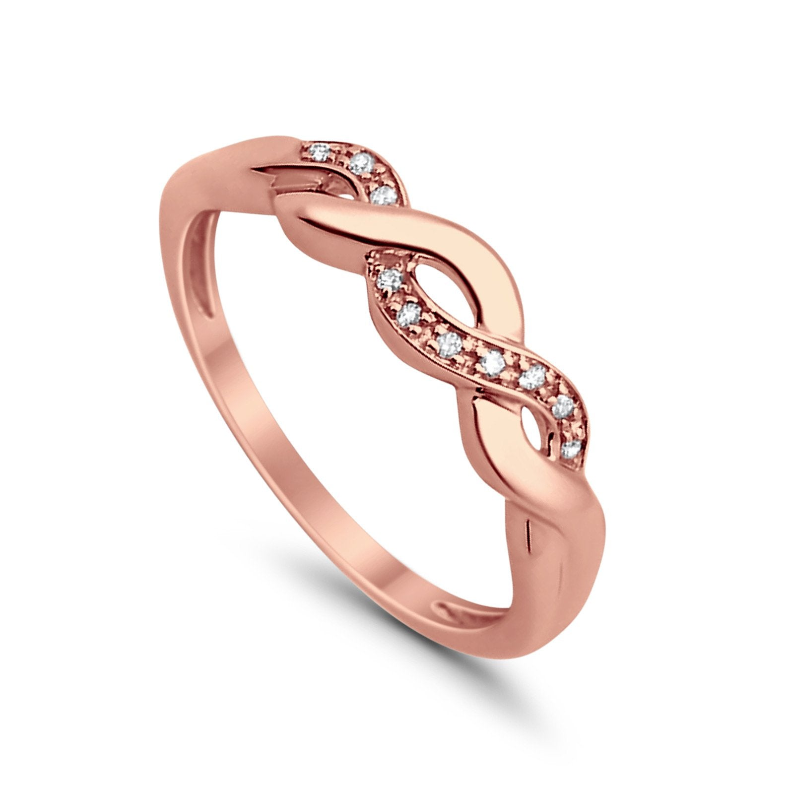 14K .03ct Rose Gold Diamond Eternity Infinity Bands Ring Size 6.5