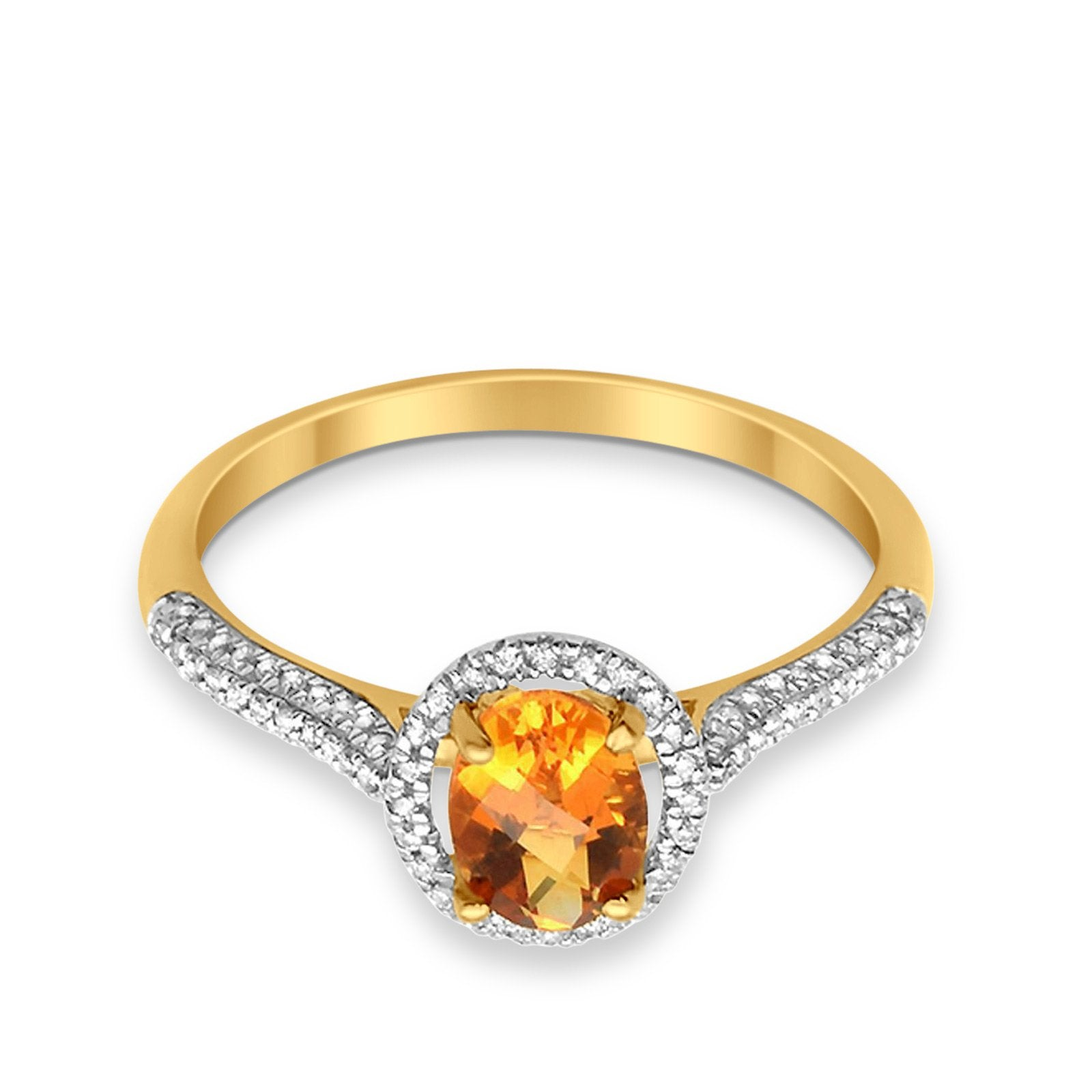 10K 0.9cts Yellow Gold Oval Citrine Gemstone & Diamond Ring Size 6.5