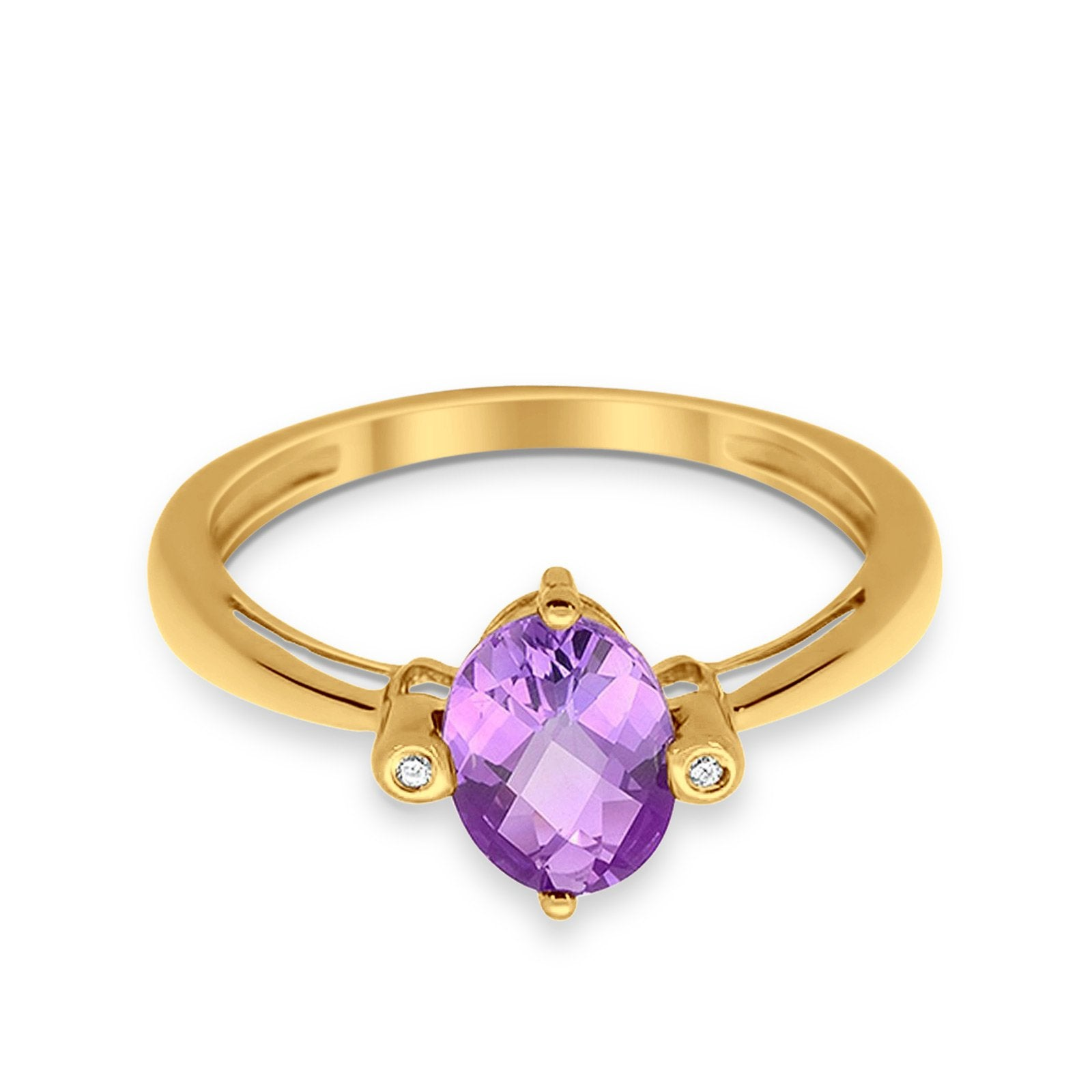 10K Yellow Gold Oval Shape Amethyst 1.1ct Diamond Ring Size 6.5