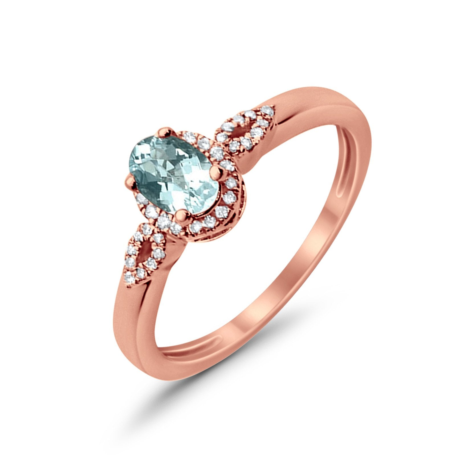 10K Oval 4x6 mm Diamond Ring .47cts Rose Gold Aquamarine Size 6.5