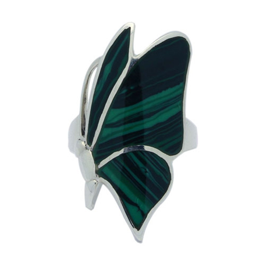 Butterfly Ring Simulated Stone Created Green Malachite 925 Sterling Silver